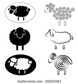 black silhouettes of sheep on a white background. Logo design for the company.