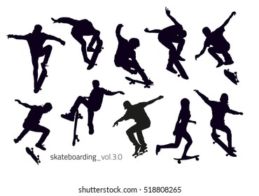 Black silhouettes of skateboarders on a white background. Vector illustration