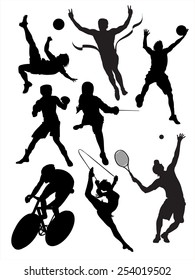Black silhouettes of sportsmen on a white background.