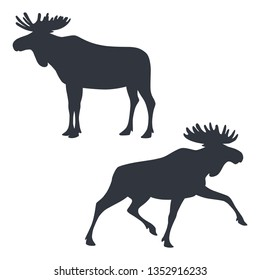 Black silhouettes of standing and running moose isolated on white background. Vector illustration EPS 8