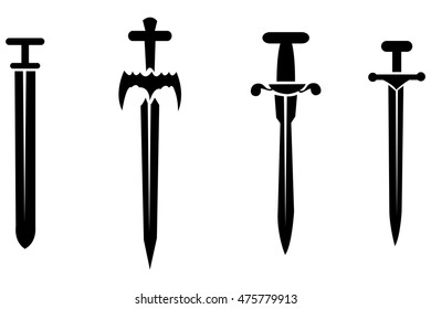 Black silhouettes of swords