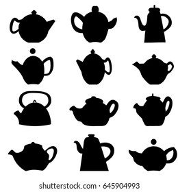 Black silhouettes of teapots.