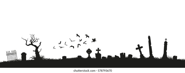 Black silhouettes of tombstones, crosses and gravestones. Elements of cemetery. Graveyard panorama. Vector illustration