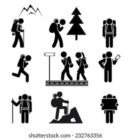 Black silhouettes of tourists with backpacks on a white background. Vector illustration