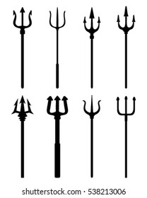 Black silhouettes of trident  on a white background