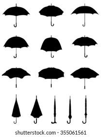 Black silhouettes of umbrellas, vector