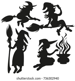 Black silhouettes of witches set. Mystical illustration. Flying on a broomstick scary Silhouette for the Halloween. Vector outline of a witch