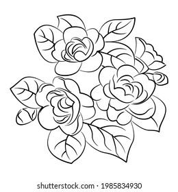 Black Silhoutte of Rose Vector Illustration