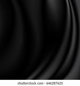 Black silk fabric background. vector illustration eps10.