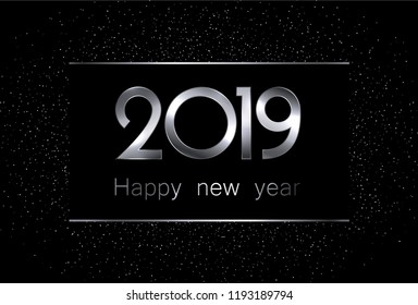 Black and silver 2019 happy new year background. Vector illustration.