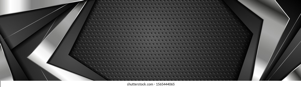 Black and silver metal stripes on dark perforated background. Vector monochrome banner design