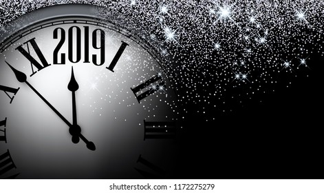 Black and silver shiny 2019 New Year background with clock. Beautiful Christmas greeting card. Vector illustration.