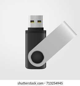 Black and silver USB stick isolated on grey background