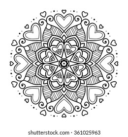 Black simple asian mandala with hearts, abstract vector illustration
