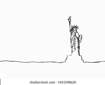black simple childish continuous hand drawn  line art statue of liberty, New York, USA on white background for wallpaper, label, banner, wrapping etc. vector design.
