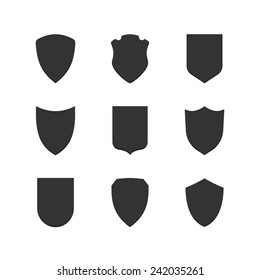 Black simple coat of arms or shield vector icons set isolated on white background