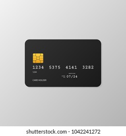 Black simple credit card template on grey background. Vector Illustration.