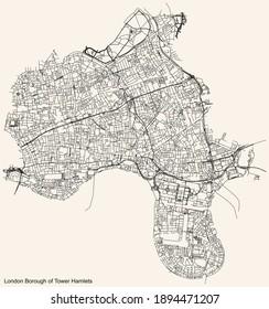 Black simple detailed street roads map on vintage beige background of the neighbourhood London Borough of Waltham Forest, England, United Kingdom