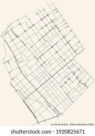 Black simple detailed street roads map on vintage beige background of the Vila de Gràcia neighbourhood of the Gràcia district of Barcelona, Spain