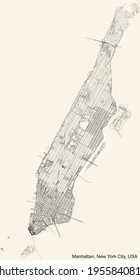 Black simple detailed street roads map on vintage beige background of the quarter Manhattan borough of New York City, USA