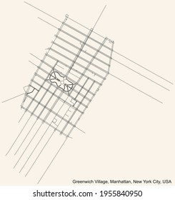 Black simple detailed street roads map on vintage beige background of the quarter Greenwich Village neighborhood of the Manhattan borough of New York City, USA