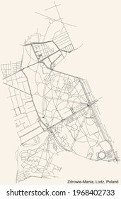 Black simple detailed street roads map on vintage beige background of the quarter Zdrowie-Mania district of Lodz, Poland