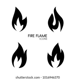Black simple fire flame icons set isolated on white background. Elegant vector elements, burn concept logo for web site page and mobile app design