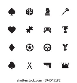 black simple flat game icon set for web design, user interface (UI), infographic and mobile application (apps)