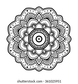 Black simple indian floral mandala, abstract vector illustration