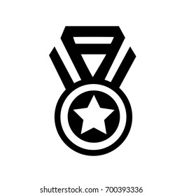Black simple medal icon, winner vector, victory sign, symbol