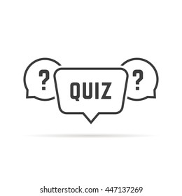 black simple quiz with speech bubbles. concept of vote, intelligence, brainstorm, quizz, time game stamp. flat lineart style trend modern graphic design vector illustration on white background