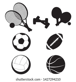 Black simple sport set: tennis rockets, table tennis rockets; football; voleyball; baseball; basketball; dumbbell