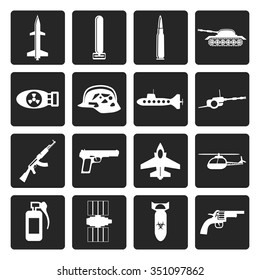 Black Simple weapon, arms and war icons - Vector icon set