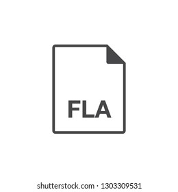 Black single line fla document file format icon concept set. Simple modern flat design element for app, ui, ux, web, button, interface. Glyph graphic vector eps 10 isolated on white background