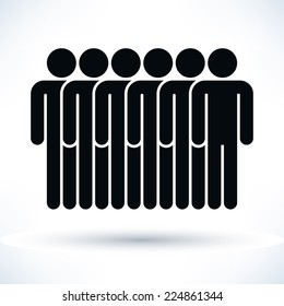 Black six people (man figure) with gray drop shadow isolated on white background in flat style. Graphic design elements save in vector illustration 8 eps