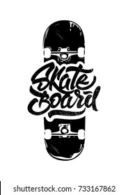 Black skate. Skateboard lettering for print on T-shirt