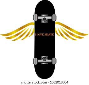 Black skateboard board wing design, sport transportation, skate vector.