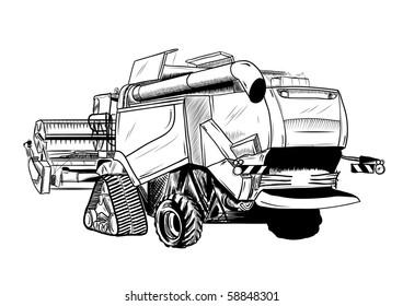 black sketch of big combine