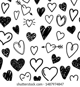 Black sketch hearts pattern. Beautiful love seamless pattern with heart and arrow, cartoon hipster beauty valentines day hand drawn texture graphic