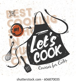 Black sketched cooking apron with lettering - Let's Cook