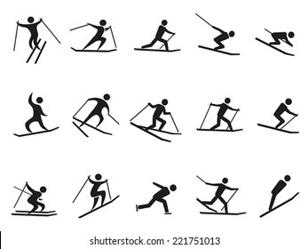 black skiing stick figure icons set