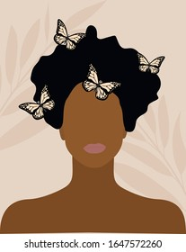 black skin woman with butterflies on her hair fashion illustration