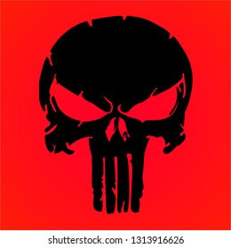 black skull and Bones icon. Element of crime and punishment illustration with red background, T-Shirt graphics design famous, vector design icon