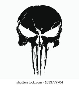 black skull and Bones icon the punisher. Element of crime and punishment illustration with red background, T-Shirt graphics design famous, vector design icon