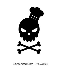 Black skull with chef hat