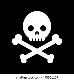 Black skull and cross-bones - danger sign