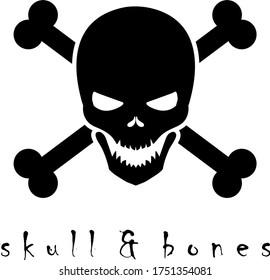 Black skull crossbones vector logo design