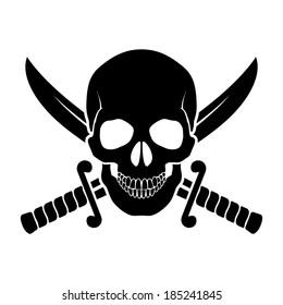 Black skull with crossed sabers behind it. Illustration of pirate symbol