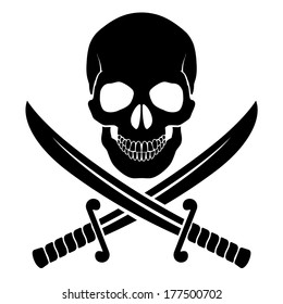 Black skull with crossed sabers. Illustration of pirate symbol