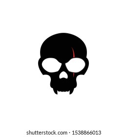 Black skull with facial wound design template